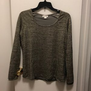 Reiss Gold Shimmer Sweater w Open Back, Size S